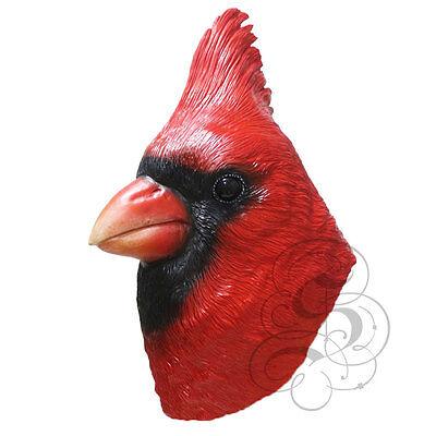 Neu! Latex Tier Realistische Rot Kardinal Vogel Cosplay Kostüm Karneval Maske (Kardinal Vogel Kostüm)
