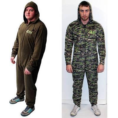 Q DOS Fleece Suit Green Or Camo Fishing All In One Thermal Fleece Underwear Suit