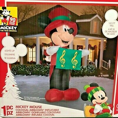 NEW GIANT 14.5 FT TALL DISNEY CHRISTMAS MICKEY MOUSE CAROLER GEMMY INFLATABLE