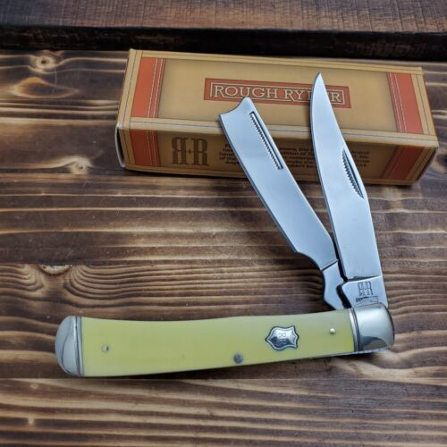Rough Rider Razor Trapper Yellow Handle  Folding Pocket Knif