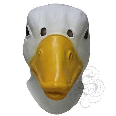 Latex Ganzer Kopf Hof Tier Weiß Ente Entlein Kostüm Karneval - Entlein Kostüm