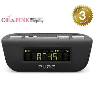 pure siesta mi series ii 2 dab fm alarm clock radio digital 3year warranty black ebay. Black Bedroom Furniture Sets. Home Design Ideas