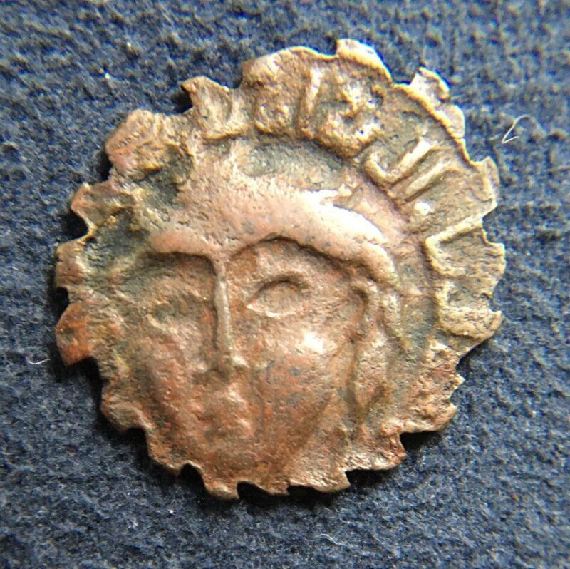 A  Ancient Coin Zengids of Mosul Bronze Serrate AE Dirhem 12th 13th C.