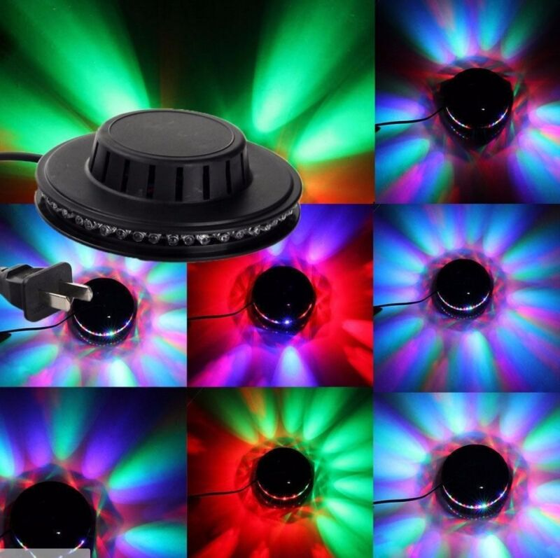 LED RGB Lamp Effect Auto Sunflower Rotating Party Stage Club KTV Disco Light BLK