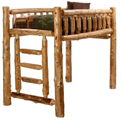 TWIN LOFT CEDAR LOG BUNK BED RUSTIC LODGE CABIN FURNITURE Strongest Available Bunk Bed Loft Bunk