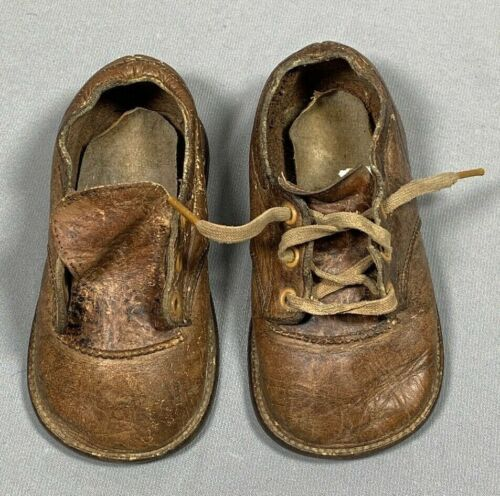 Vtg Baby Child Toddler Shoes Brown Leather Boys Distressed