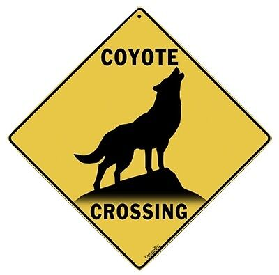 """COYOTE SILHOUETTE Crossing Sign, Metal 12"""" by 12"""" on sides, 16"""" on Diagonal-"""