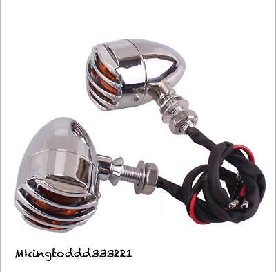 Silver Motorcycle LED Turn Signals For Harley HD Chopper Bobber Classic Custom
