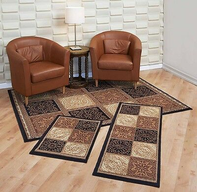 Quit Rugs 3 Piece Set Living Room Big Area Floor Mat Runner Scatter Brown Gold