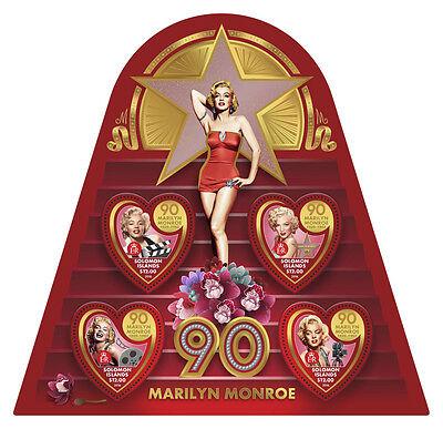Solomon Isl 2016 MNH Marilyn Monroe 90th 4v M/S Movie Stars Celebrities Stamps