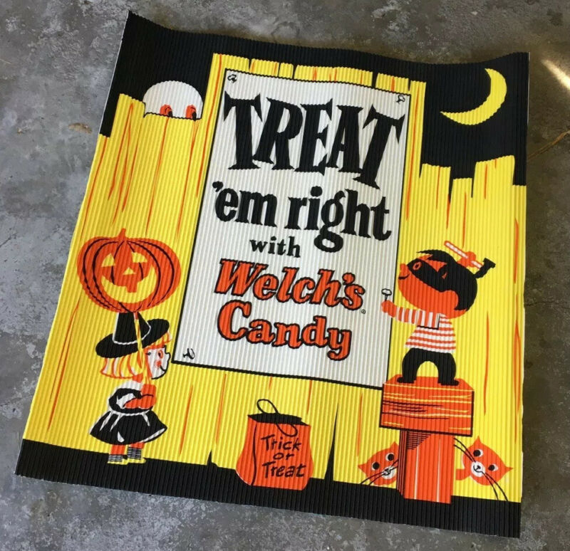 Vintage Halloween Store Display Candy Sign Mid Century Googie