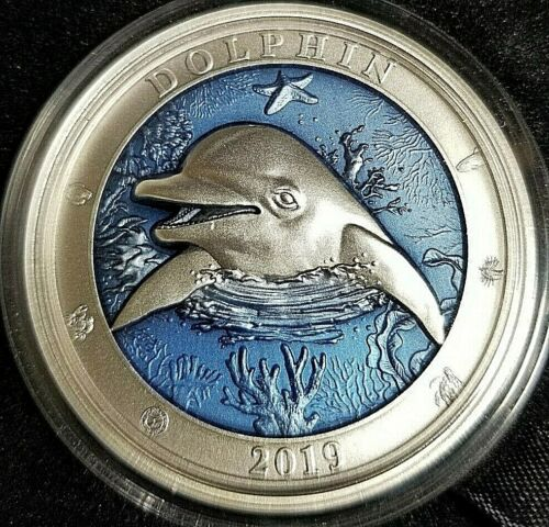 2019 Barbados Underwater World - Dolphin! - 3 oz Antiqued .999 Silver Coin!