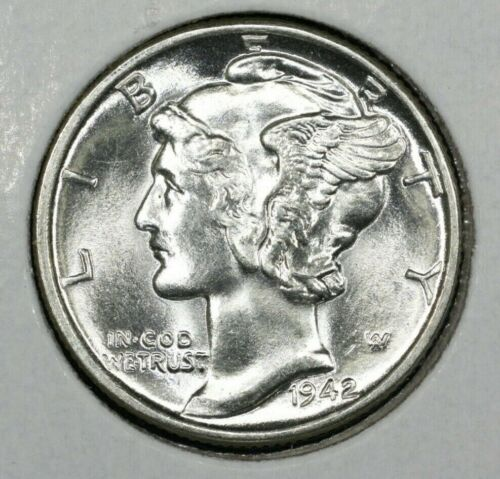 1942 P Mercury Dime Brilliant Uncirculated 90% Silver Coin Gem BU Free Shipping!