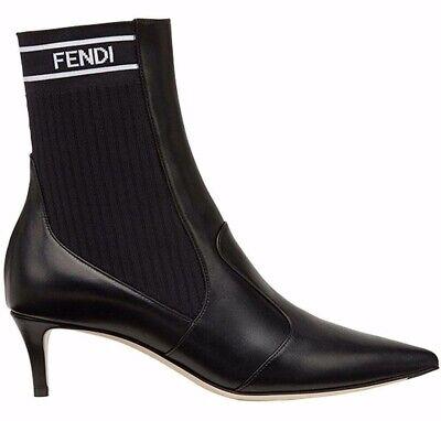 Fendi Rockoko Black Scuba Stretch FF Logo Knit Sock Ankle Kitten Heel Boot 41.5