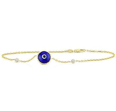 14K Yellow Gold Evil Eye Bracelet With Diamonds - Indigo Blue 7.5 Inches