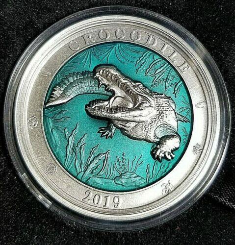 2019 Barbados Underwater World - Crocodile! - 3 oz Antiqued .999 Silver Coin!