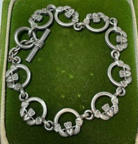 Lucky Irish Celtic Claddagh Matte Silver Tone Charm Toggle Bracelet 9h 3