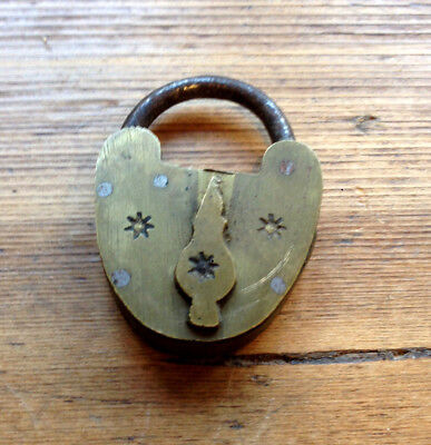 Vintage antique small decorative brass padlock