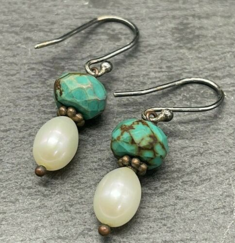 Vintage Sterling Silver - 925 Faux Turquoise and Pearls - Drop Dangle
