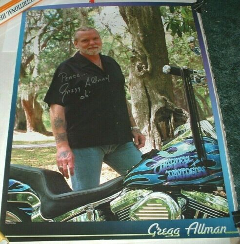 GREGG ALLMAN SIGNED HARLEY DAVIDSON POSTER 2006 VERY GOOD UNUSED COND. BROTHERS