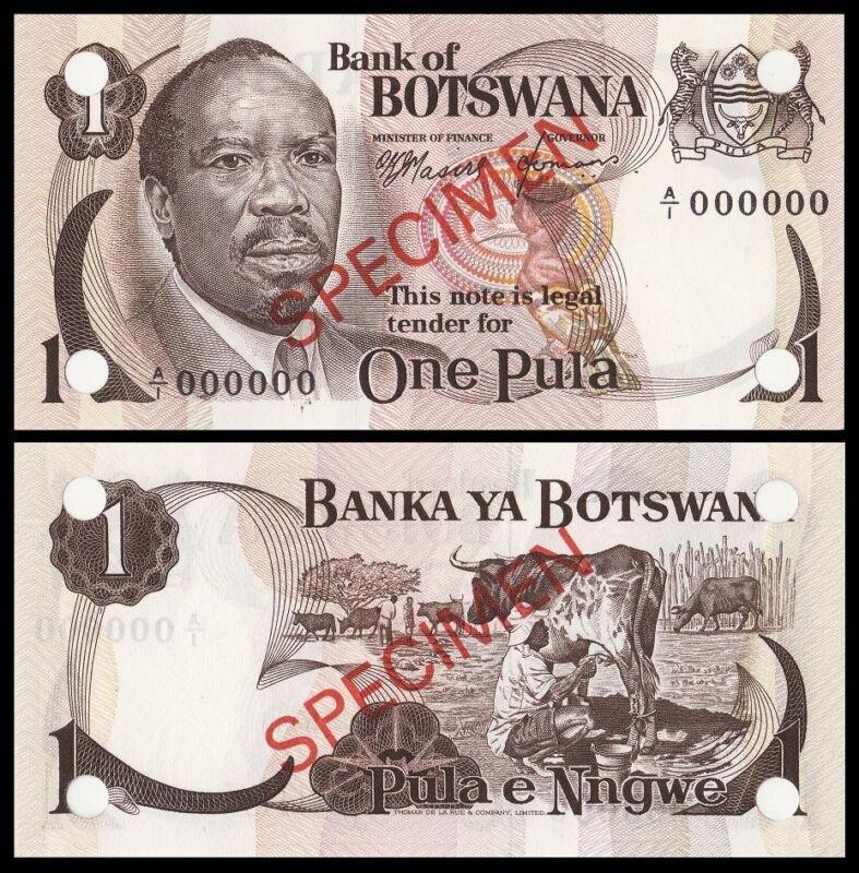 Botswana One Pula SPECIMEN Pick-1s 1976 Prefix A/1 UNC