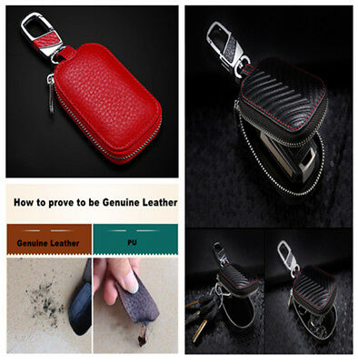 Red High Quality Practical Genuine Leather Key Holder Purse for Universal Car