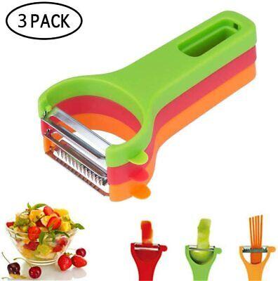 Magic Trio Vegetable Fruit Peeler Longer Handle With 3 Different Blades UK...