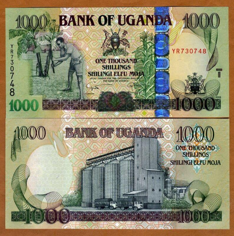 UNC 1000;2000 Shillings P-49d-50d SET Uganda 2017 New Signature