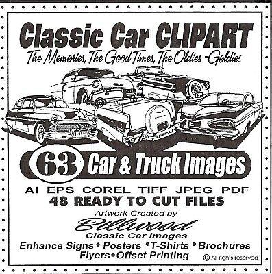 Classic Car Clipart Cd - 63 Car Truck Vector Images