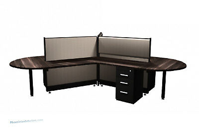 3 Person Workstation Office Furniture Cubicles Electric Panels Drawers Tackboard
