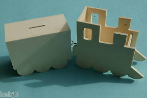 Wooden-TRAIN-Money-Box-Pencil-Pot-BLANK-to-decorate-others-cat-pig-house-bear