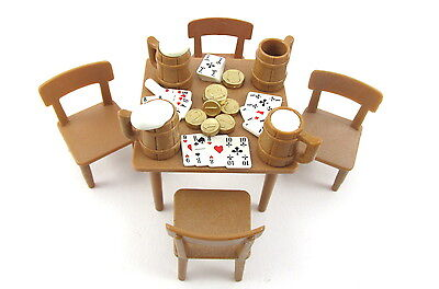 Playmobil~Western~Table~Chairs~Beer Mugs~Saloon~Poker Playing Cards~Gold - Western Table