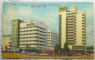 Shelborne Nautilus Shore Club Hotels Florida FL Postcard Miami Beach Vintage Car
