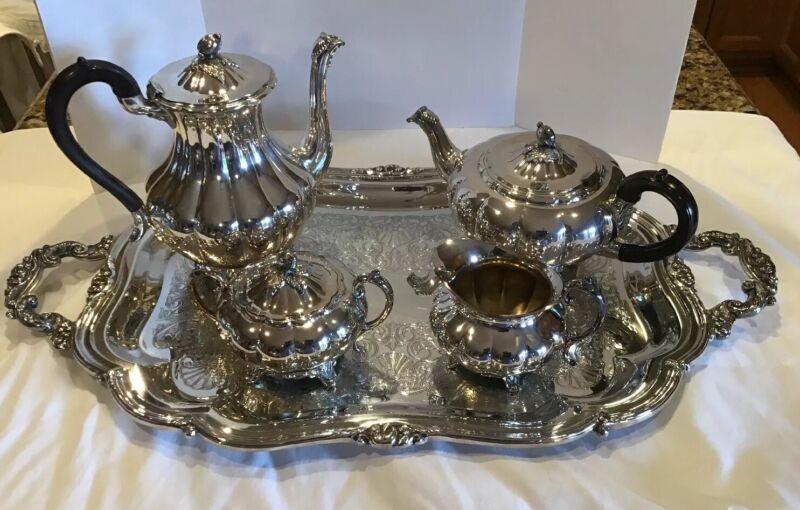 Community Melon Coffee Tea Cream Sugar Large Tray Silverplate Set Sheffield Repr