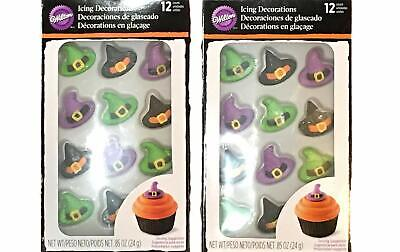 Halloween Cupcakes Witches Hats (NEW! Wilton Icing Decorations Cupcakes 24 Witch Hats Halloween Candy 2 Packs)
