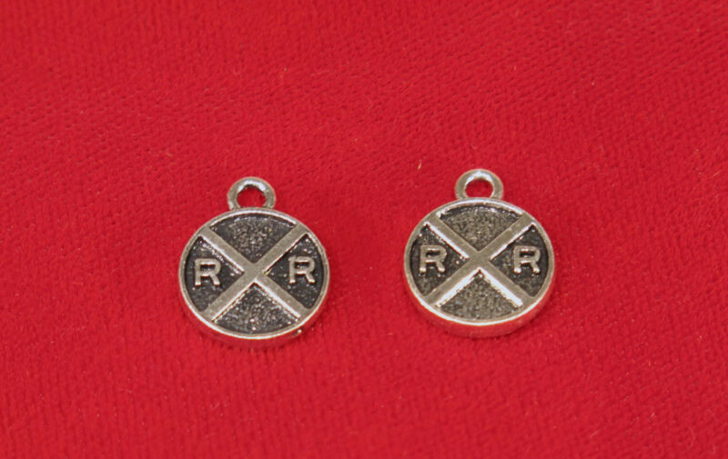 """10pc """"RR Railroad"""" charms in antique silver style (BC853)"""