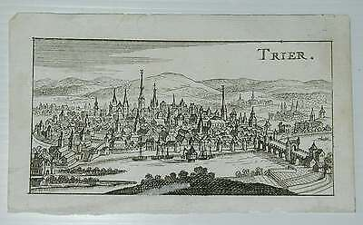 Trier Gesamtansicht Rheinland Pfalz Original Kupferstich Merian Riegel 1686