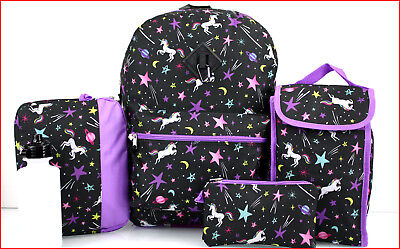 """Used, 6 pcs - Magical UNICORNS Large 17"""" BACKPACK + LUNCH Bag + Pencil & Tablet Cases for sale  Shipping to India"""