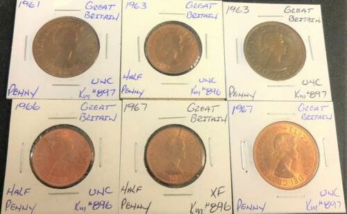 GREAT BRITAIN 1961 TO 1967 6 COIN HALF PENNY & PENNY XF/UNC LOT # WB 16