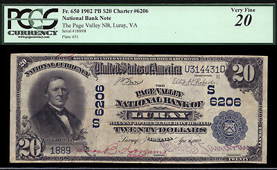 20 1902 Page Valley National Bank Of Luray  Virginia Ch 6206 Only 7 Lrg  9 Sml