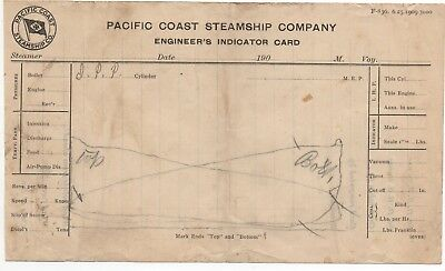 1909 Pacific Coast Steamship Co Engineer's Indicator Card for sale  San Francisco