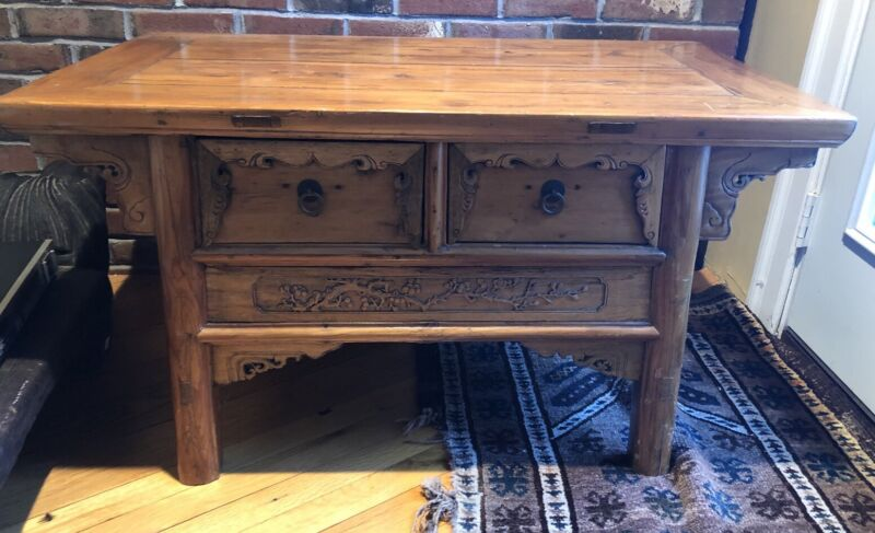 Antique Chinese Carved Wood Low Coffee Table Nice Old