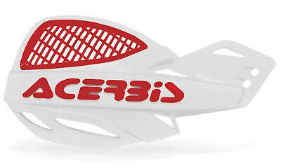 ACERBIS UNIKO VENTED HANDGUARDS WHITE RED MOTOCROSS MX ENDURO CHEAP PAIR + KIT