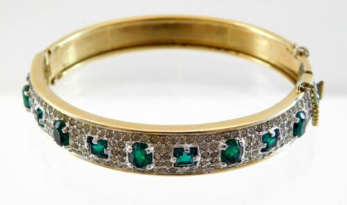 Vtg Panetta Gold Tone Metal and Green Rhinestone Hinged Bracelet w Safety Clasp