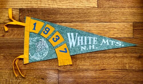 """1937 Old Man of the Mountains / White Mountains New Hampshire Pennant (16.5"""")"""