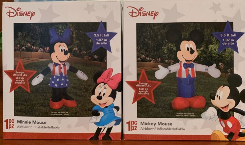 SET DISNEY MICKEY & MINNIE MOUSE PATRIOTIC JULY 4 LIGHTED  AIRBLOWN INFLATABLES
