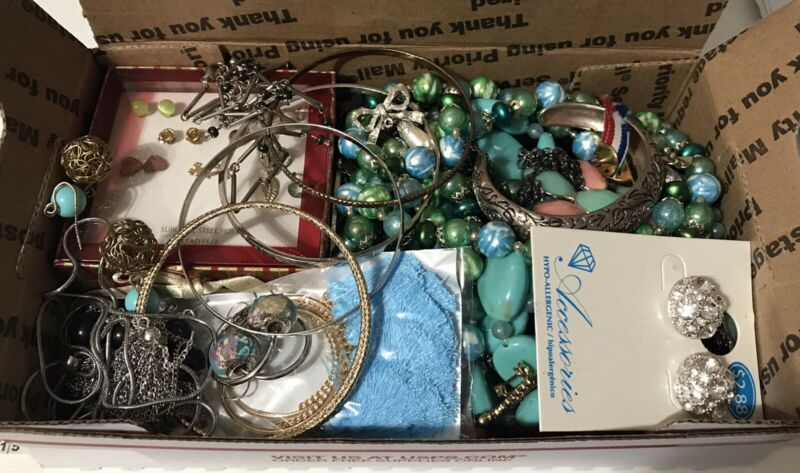 Mixed Jewelry 1.7 Lbs Box Lot. Necklaces Bracelets Earrings Wearable