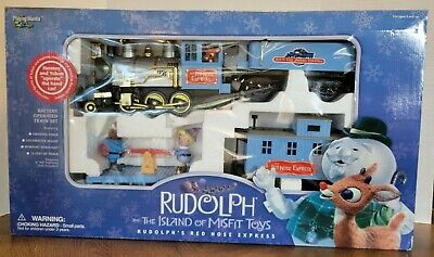 Rare 2001 Rudolph the Red Nose Reindeer Island of Misfit Toys Train Set in box.