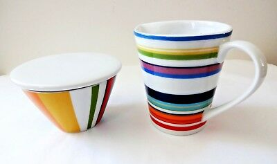 Sugar and creamer set white multicolor stripes DKNY Lenox Urban Essentials new