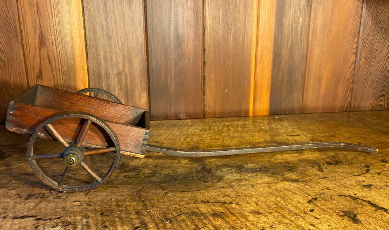 """Antique 19thc. Handcrafted Wood Ox Cart Toy 1800s Pull Wagon Toy 32"""" Dovetail"""